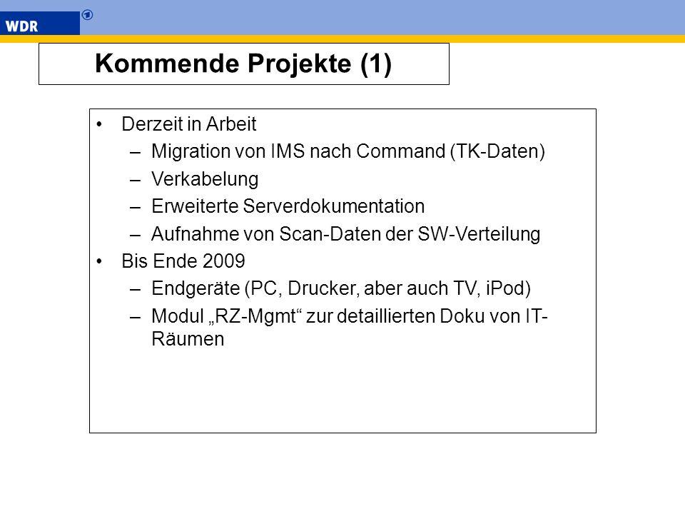 Kommende Projekte (1) Derzeit in Arbeit