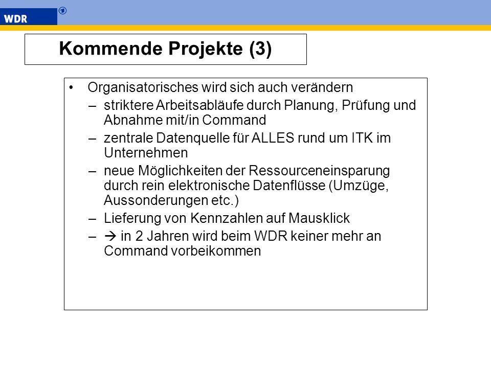 Kommende Projekte (3) Organisatorisches wird sich auch verändern