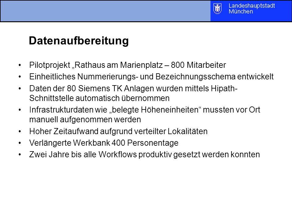 """DatenaufbereitungPilotprojekt """"Rathaus am Marienplatz – 800 Mitarbeiter. Einheitliches Nummerierungs- und Bezeichnungsschema entwickelt."""