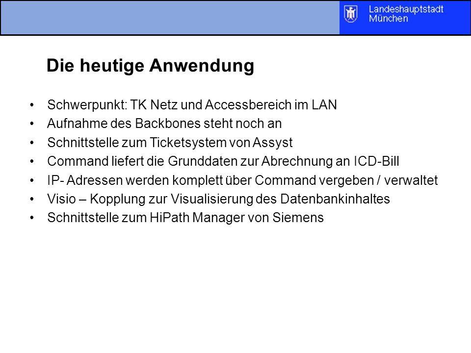 Die heutige Anwendung Schwerpunkt: TK Netz und Accessbereich im LAN