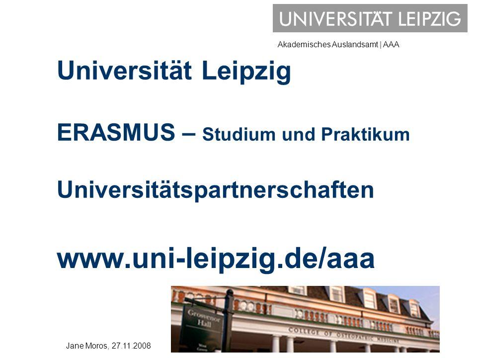 Universität Leipzig ERASMUS – Studium und Praktikum Universitätspartnerschaften
