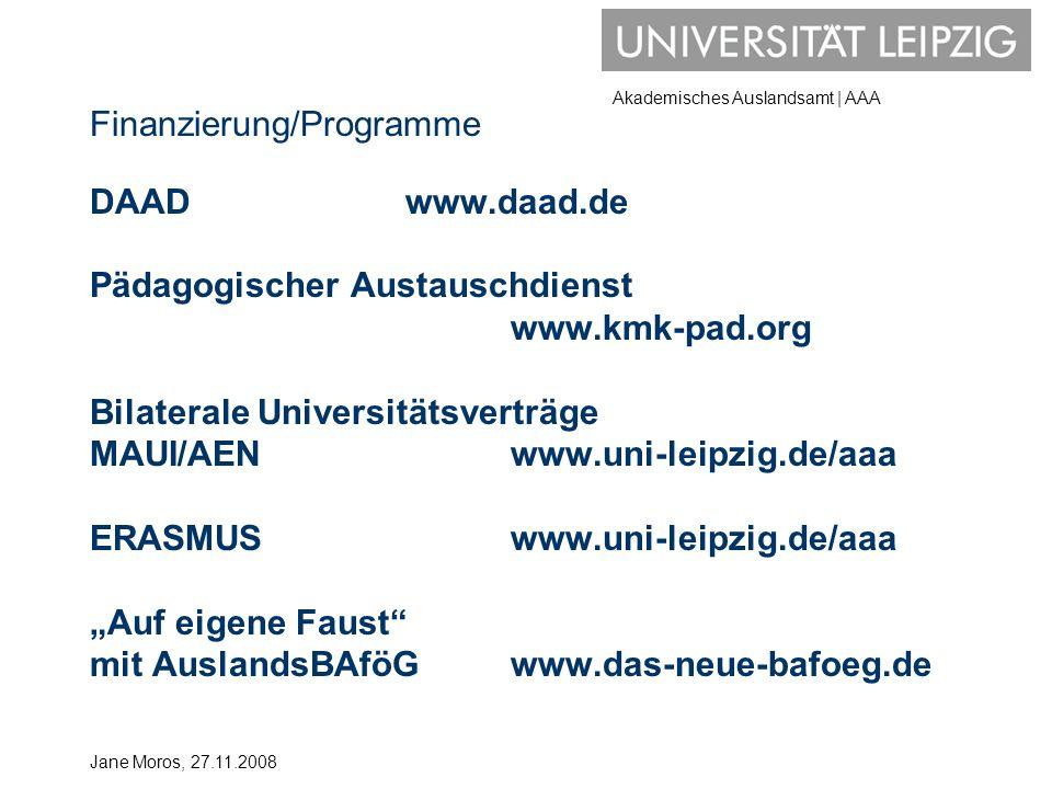 Finanzierung/Programme DAAD. www. daad