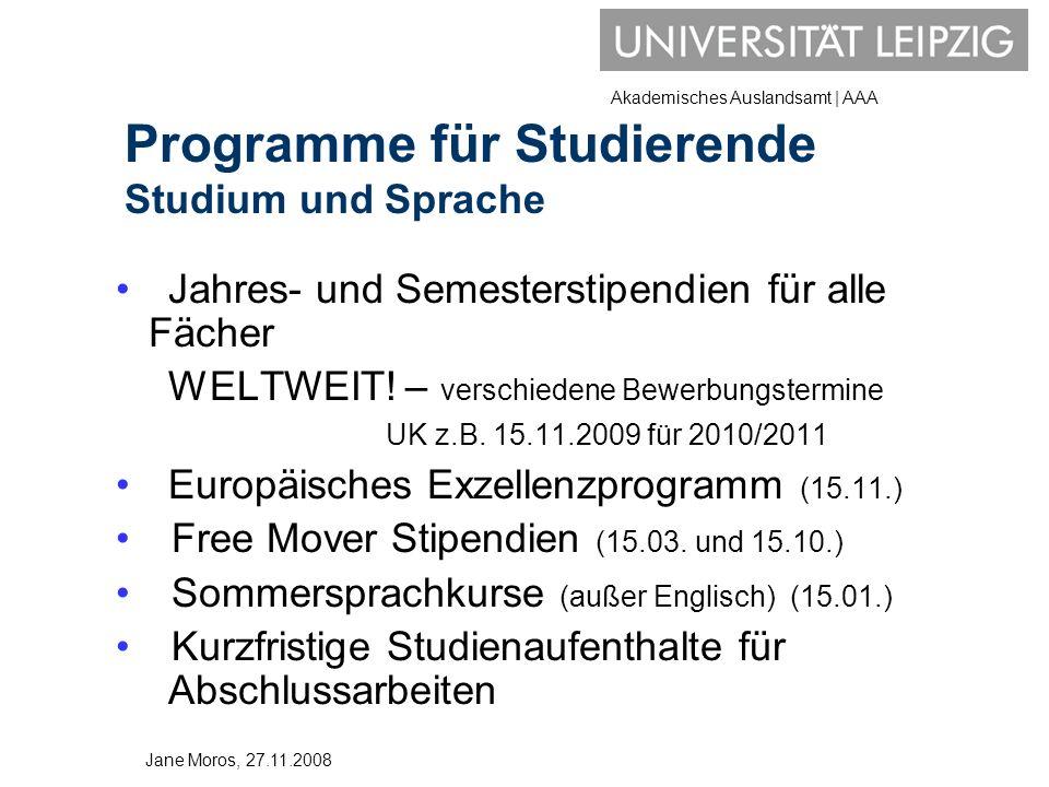 Programme für Studierende Studium und Sprache