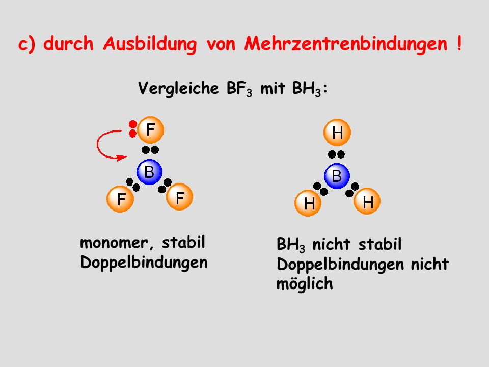 c) durch Ausbildung von Mehrzentrenbindungen !