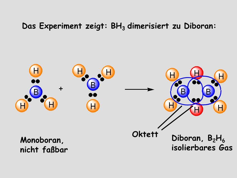 Das Experiment zeigt: BH3 dimerisiert zu Diboran: