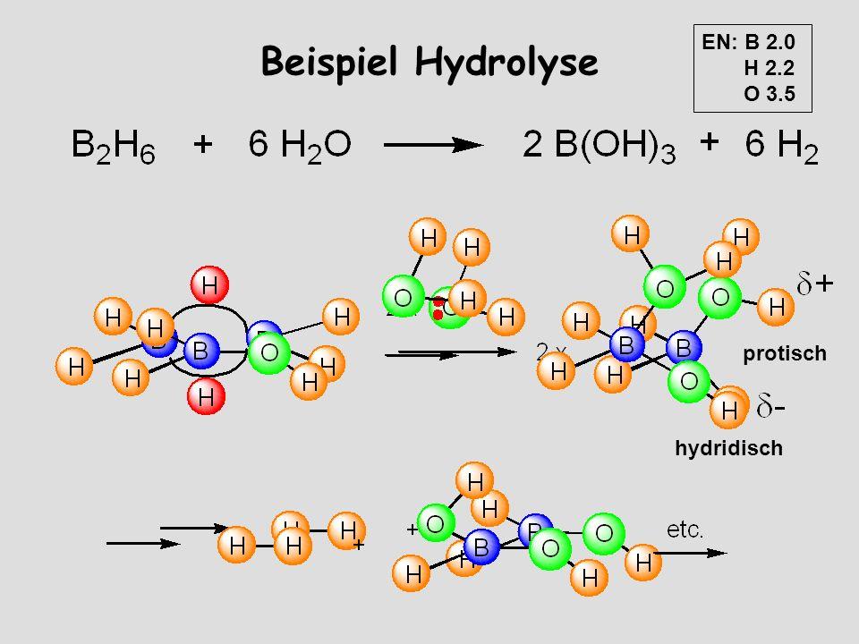 EN: B 2.0 H 2.2 O 3.5 Beispiel Hydrolyse protisch hydridisch