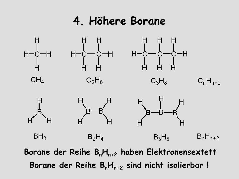 4. Höhere Borane Borane der Reihe BnHn+2 haben Elektronensextett