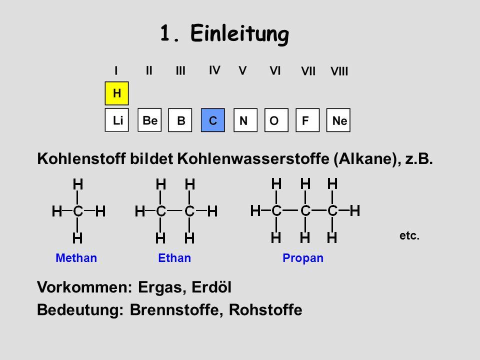 1. Einleitung Kohlenstoff bildet Kohlenwasserstoffe (Alkane), z.B.