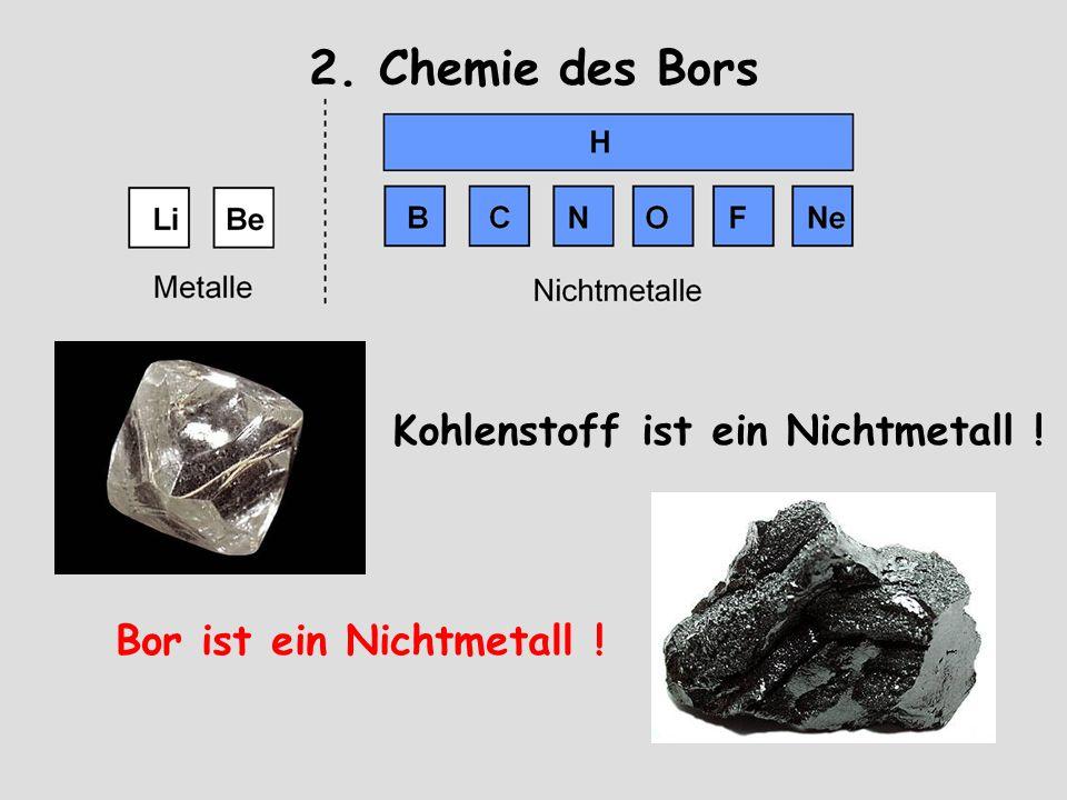 2. Chemie des Bors Kohlenstoff ist ein Nichtmetall !