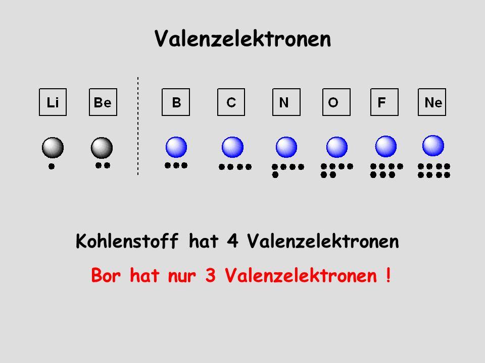 Valenzelektronen Kohlenstoff hat 4 Valenzelektronen