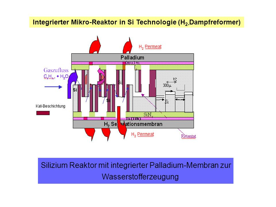 Integrierter Mikro-Reaktor in Si Technologie (H2-Dampfreformer)