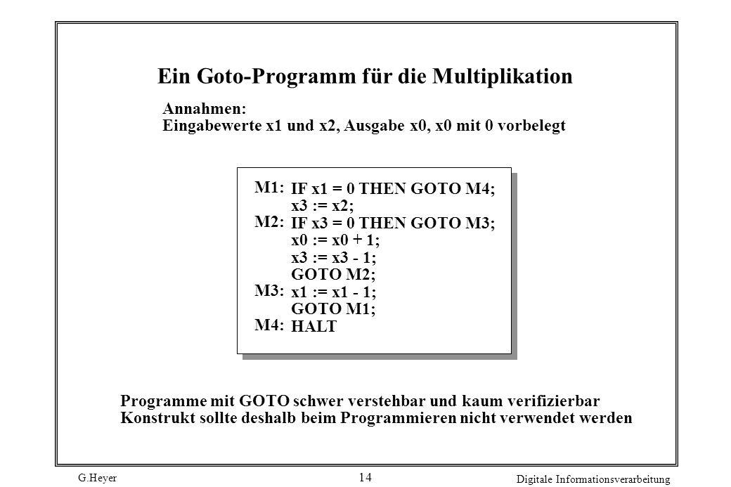Ein Goto-Programm für die Multiplikation