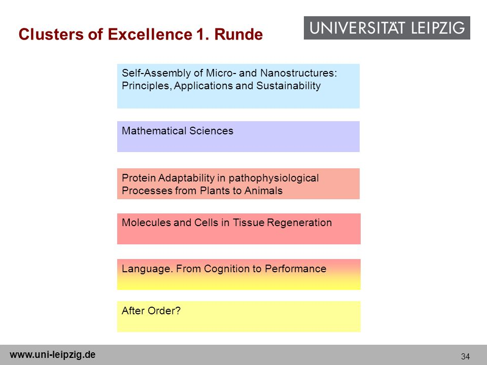 Clusters of Excellence 1. Runde