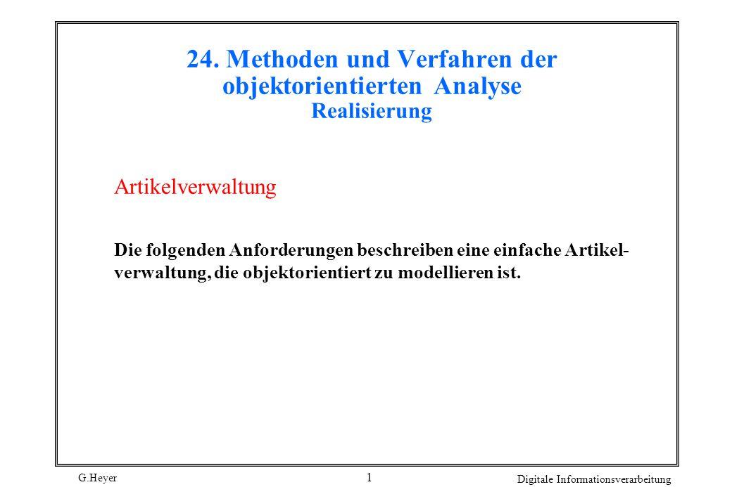 24. Methoden und Verfahren der objektorientierten Analyse Realisierung