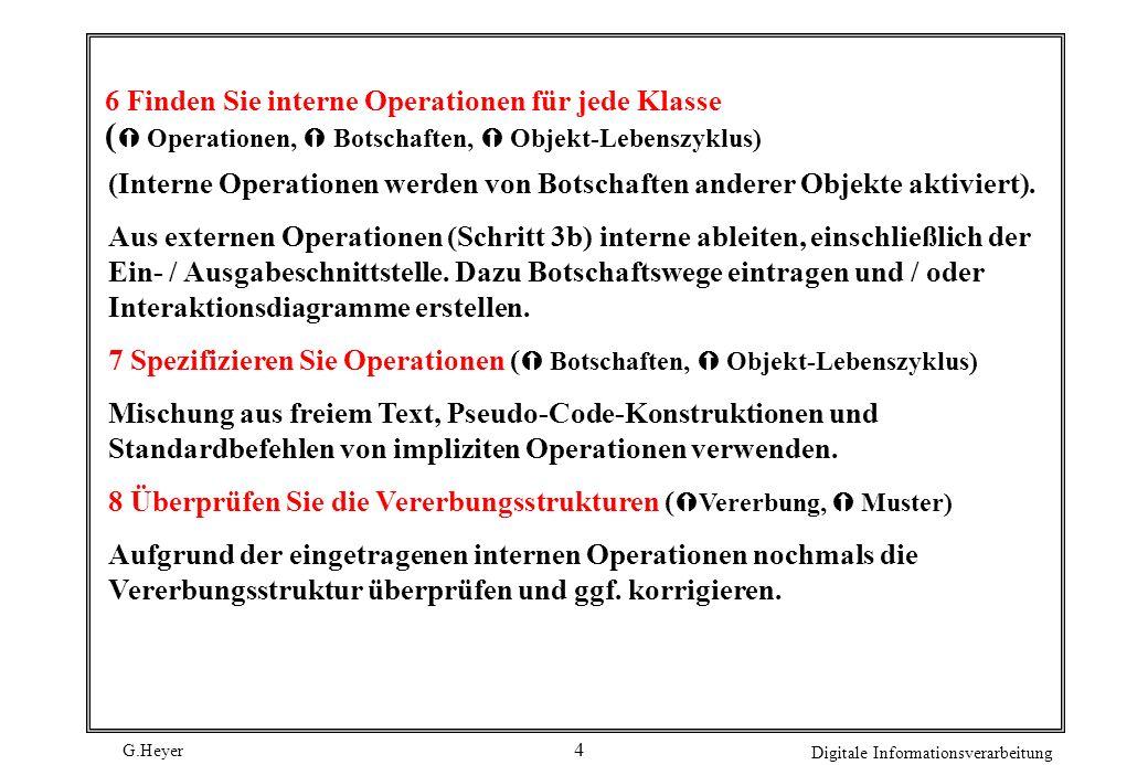 6 Finden Sie interne Operationen für jede Klasse ( Operationen,  Botschaften,  Objekt-Lebenszyklus)