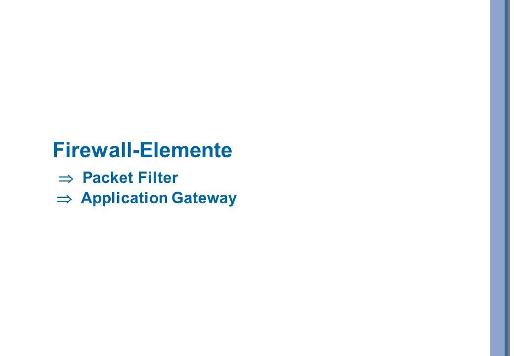 Firewall-Elemente  Packet Filter  Application Gateway