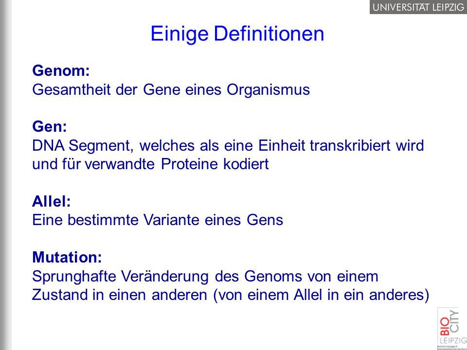 Einige Definitionen Genom: Gesamtheit der Gene eines Organismus Gen: