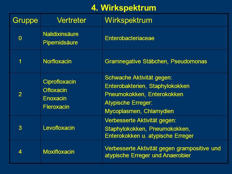 4. Wirkspektrum Gruppe Vertreter Wirkspektrum Nalidixinsäure