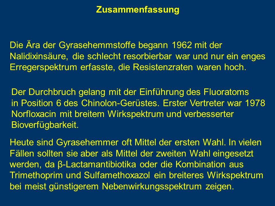 Zusammenfassung Die Ära der Gyrasehemmstoffe begann 1962 mit der. Nalidixinsäure, die schlecht resorbierbar war und nur ein enges.