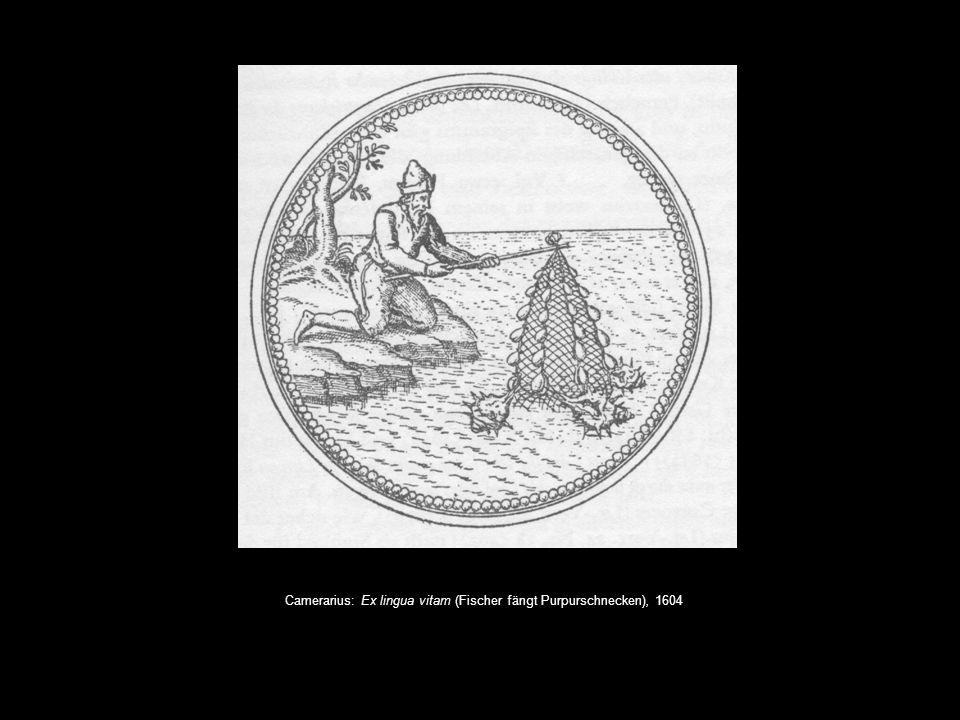 Camerarius: Ex lingua vitam (Fischer fängt Purpurschnecken), 1604