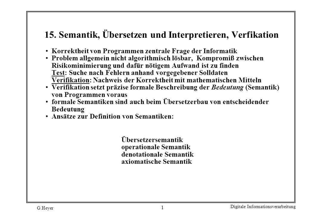 15. Semantik, Übersetzen und Interpretieren, Verfikation