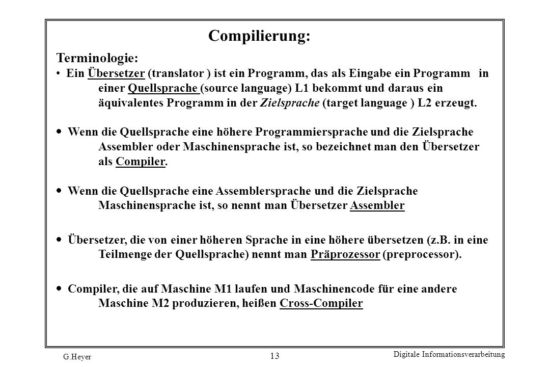 Compilierung: Terminologie: