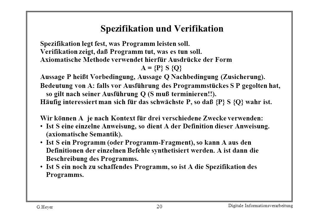 Spezifikation und Verifikation