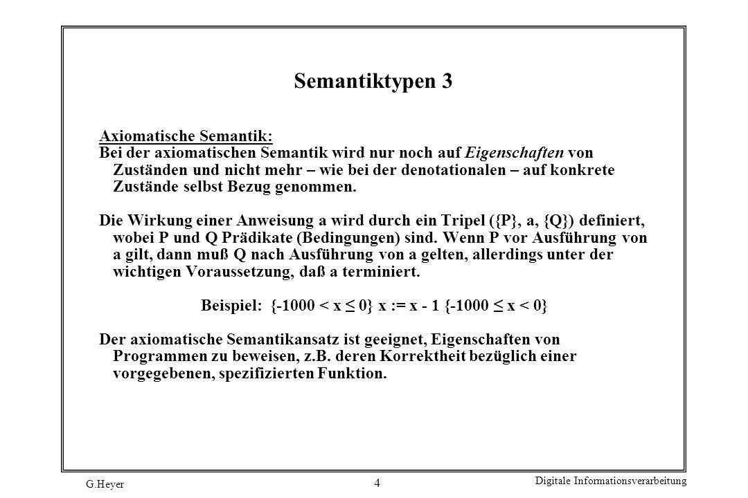 Beispiel: {-1000 < x ≤ 0} x := x - 1 {-1000 ≤ x < 0}