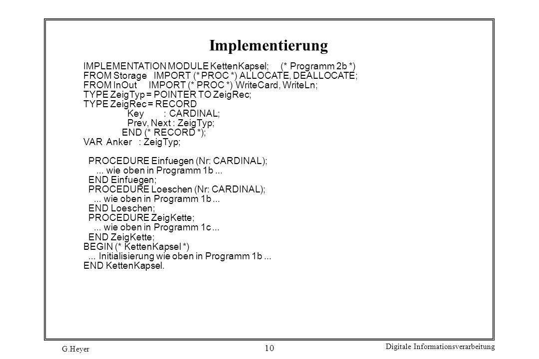 Implementierung IMPLEMENTATION MODULE KettenKapsel; (* Programm 2b *)
