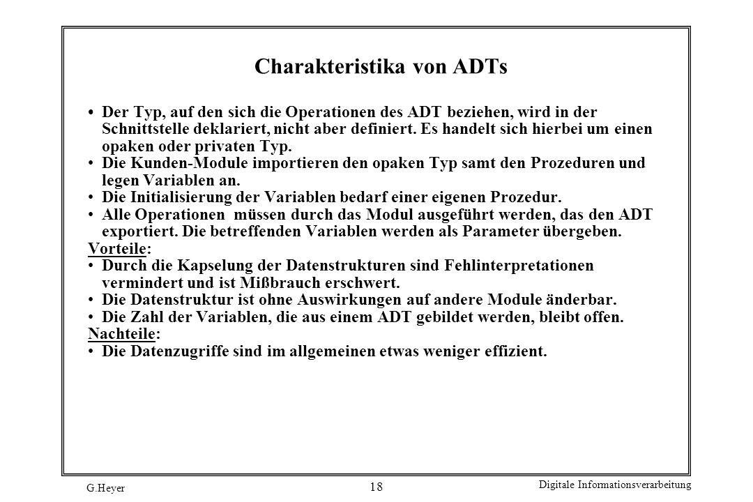 Charakteristika von ADTs