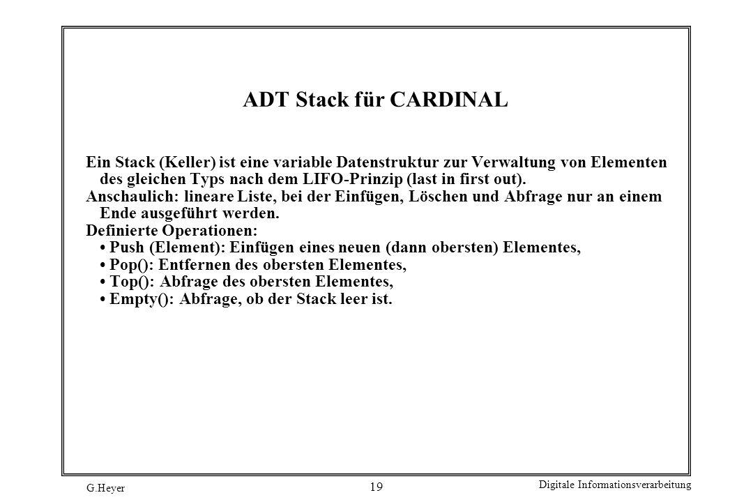 ADT Stack für CARDINAL