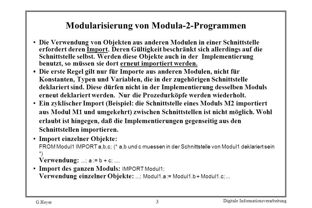 Modularisierung von Modula-2-Programmen