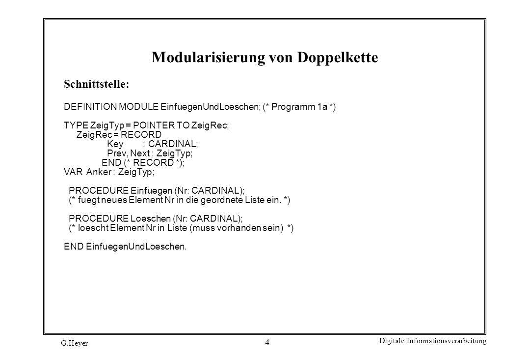 Modularisierung von Doppelkette