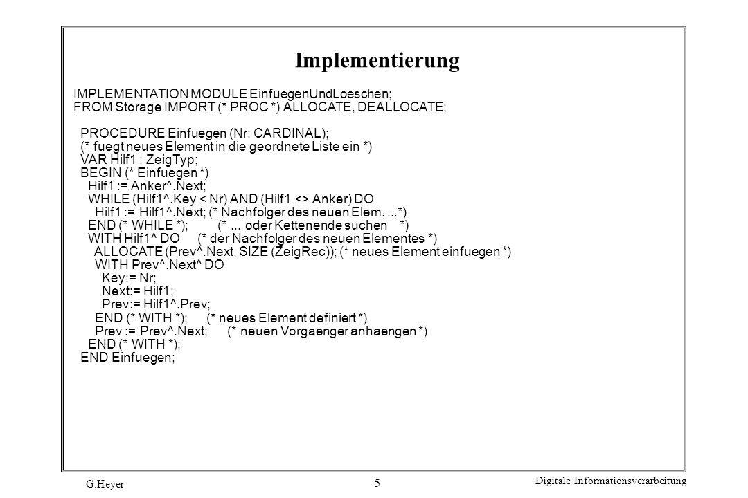 Implementierung IMPLEMENTATION MODULE EinfuegenUndLoeschen;