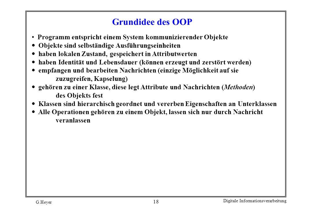 Grundidee des OOP Programm entspricht einem System kommunizierender Objekte. Objekte sind selbständige Ausführungseinheiten.