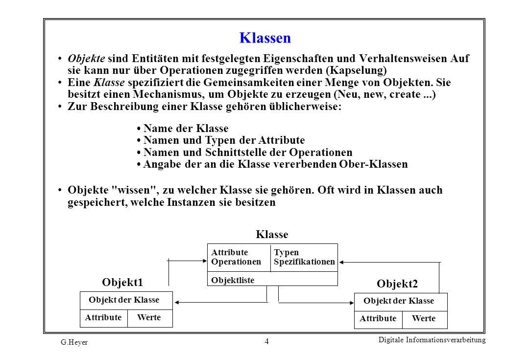 Klassen Objekte sind Entitäten mit festgelegten Eigenschaften und Verhaltensweisen Auf sie kann nur über Operationen zugegriffen werden (Kapselung)