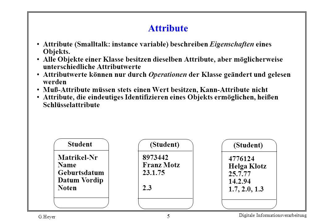 Attribute Attribute (Smalltalk: instance variable) beschreiben Eigenschaften eines Objekts.