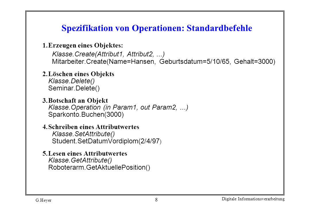 Spezifikation von Operationen: Standardbefehle