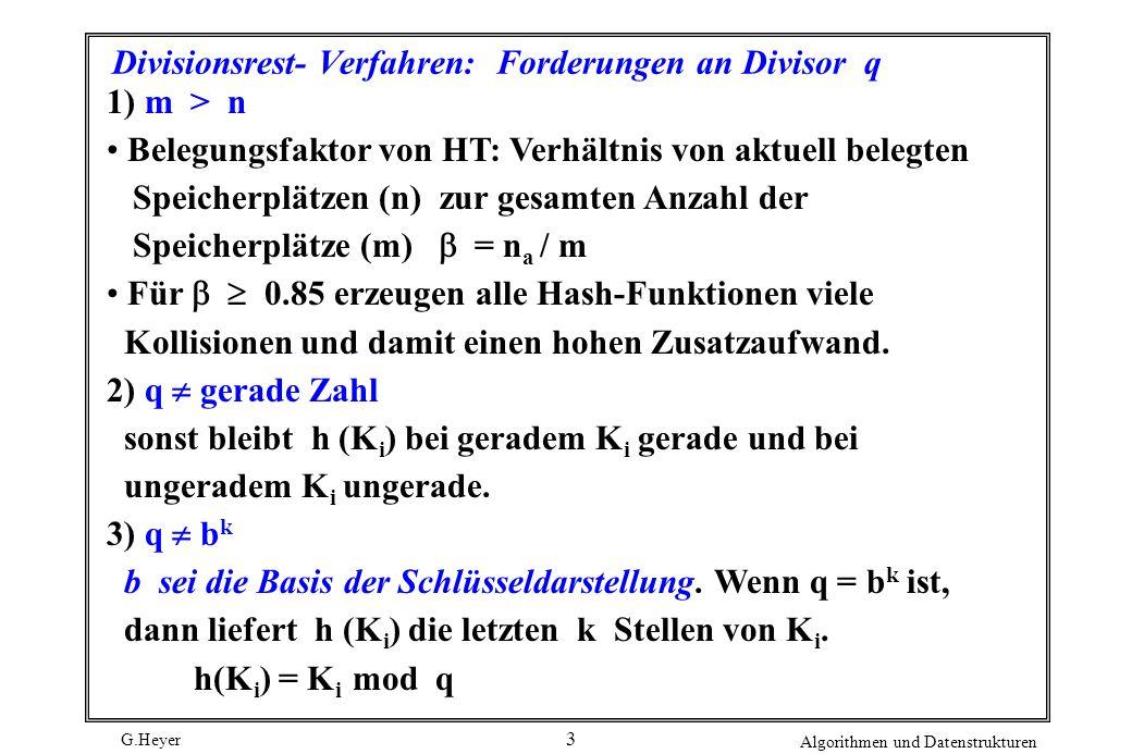 Divisionsrest- Verfahren: Forderungen an Divisor q