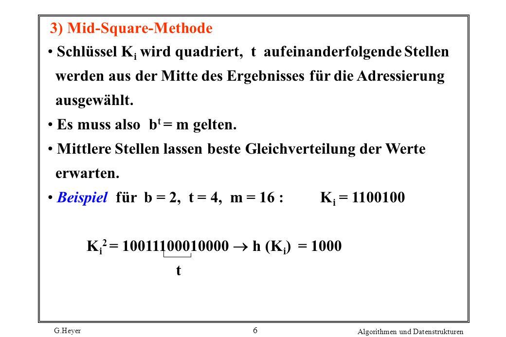 3) Mid-Square-Methode Schlüssel Ki wird quadriert, t aufeinanderfolgende Stellen. werden aus der Mitte des Ergebnisses für die Adressierung.