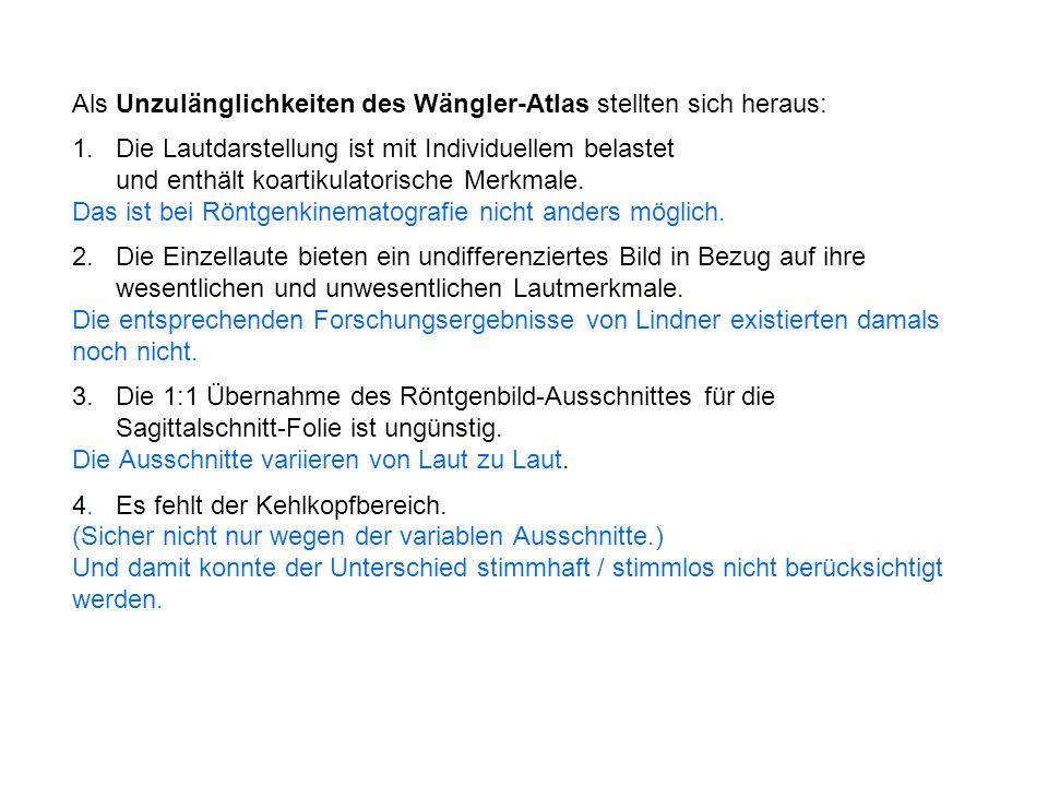 Als Unzulänglichkeiten des Wängler-Atlas stellten sich heraus: