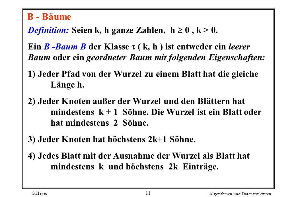 B - Bäume Definition: Seien k, h ganze Zahlen, h  0 , k > 0.