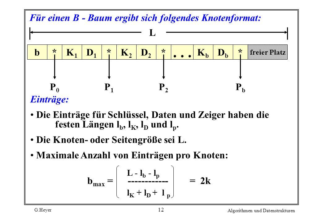 Für einen B - Baum ergibt sich folgendes Knotenformat: