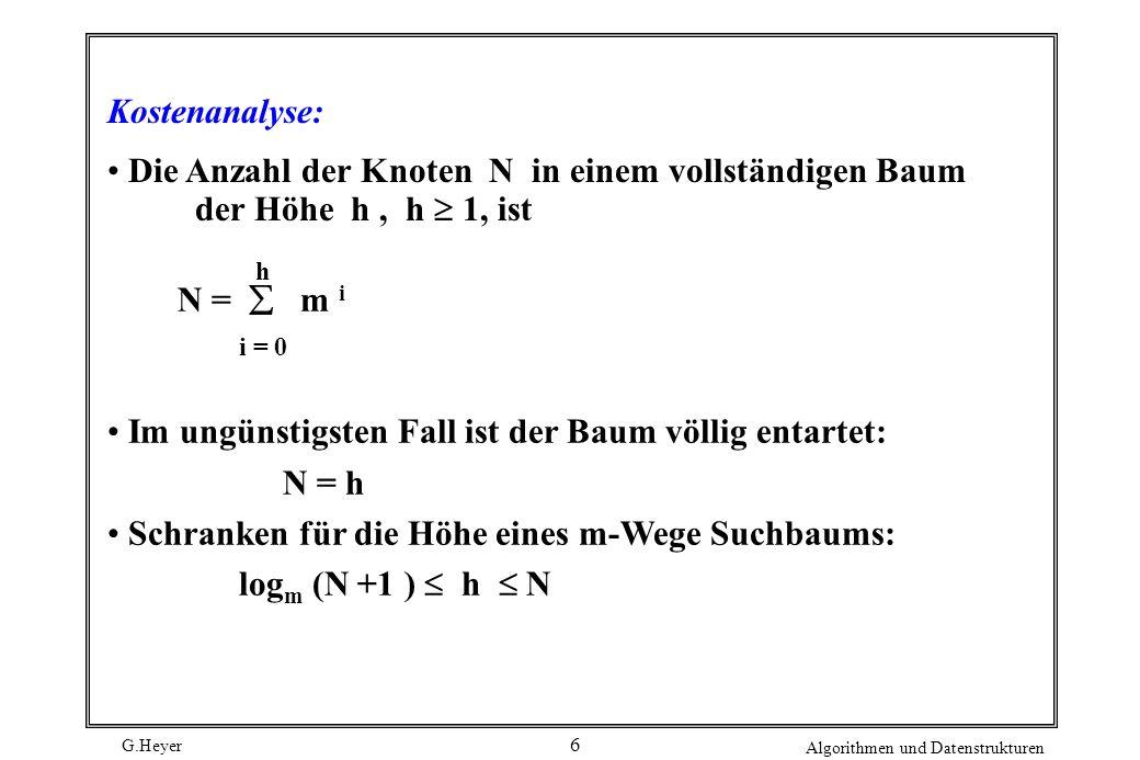 Im ungünstigsten Fall ist der Baum völlig entartet: N = h