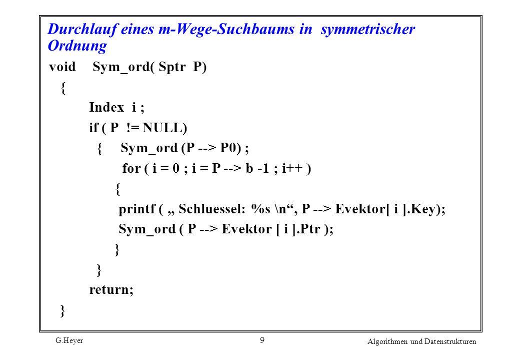 Durchlauf eines m-Wege-Suchbaums in symmetrischer Ordnung