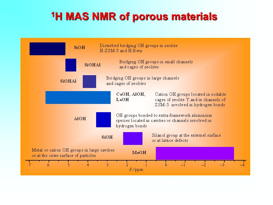 1H MAS NMR of porous materials