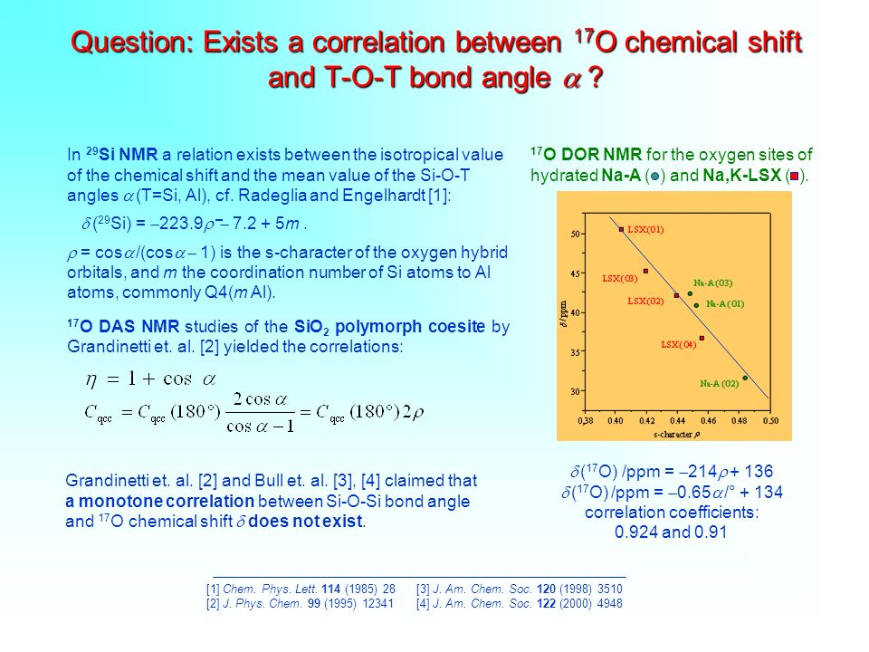 Question: Exists a correlation between 17O chemical shift and T-O-T bond angle 