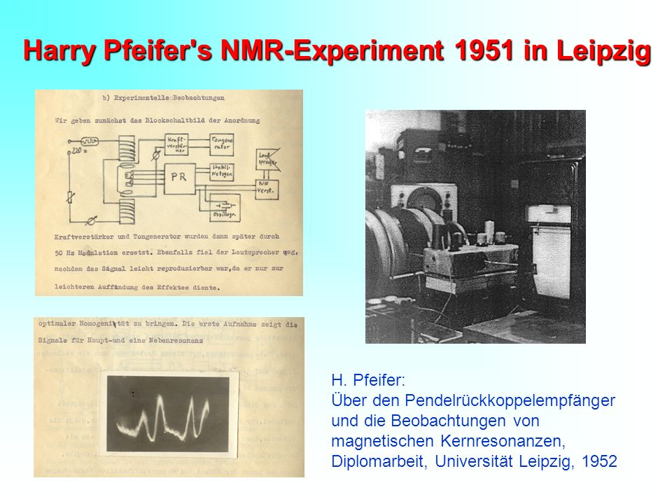 Harry Pfeifer s NMR-Experiment 1951 in Leipzig