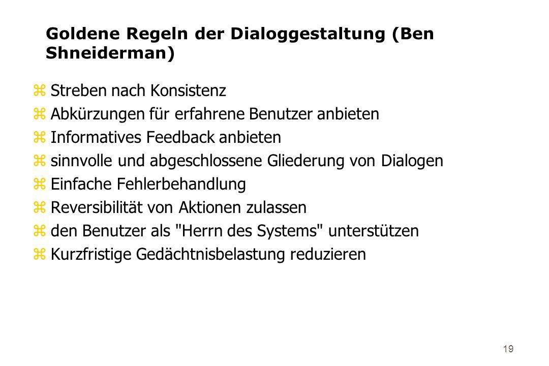 Goldene Regeln der Dialoggestaltung (Ben Shneiderman)