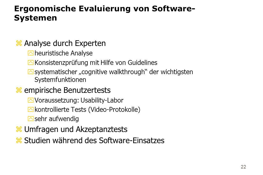 Ergonomische Evaluierung von Software-Systemen